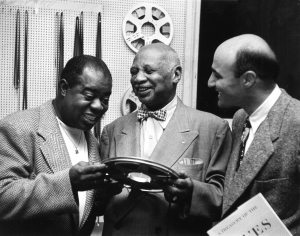Louis Armstrong, WC Handy and George Avakian, 1954