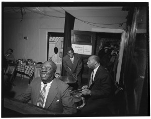James P. (James Price) Johnson, Fess Williams, Freddie Moore, and Joe Thomas, William P. Gottlieb's office party, Jamaica, Queens, New York, N.Y., ca. 1948